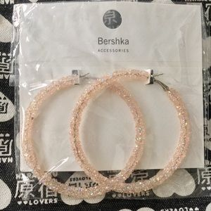 Bershka Jewelry - BERSHKA Iridescent Baby Pink Hoop Earrings